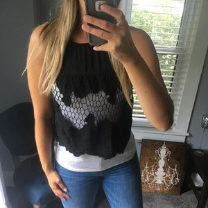 4/$25 acemi lace cutout cropped top